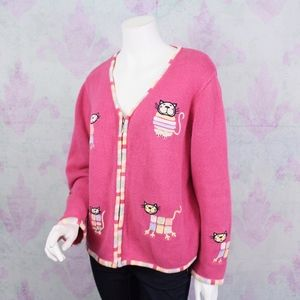 Christopher & Banks Kitty Cat Embroidered Sweater